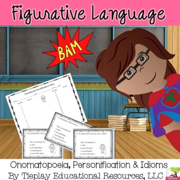 Onomatopoeia Personification Idioms Figurative Language in Black and White Print