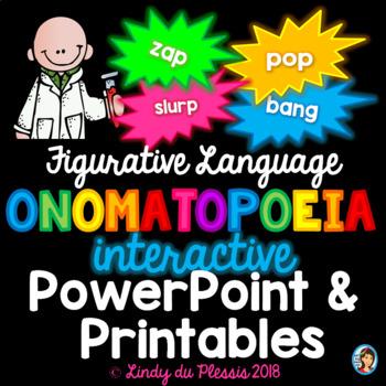 Onomatopoeia PowerPoint and Worksheets Figurative Language