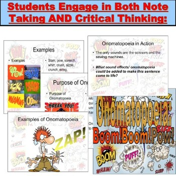 Onomatopoeia : Powerpoint Lesson and Exercises