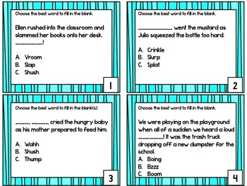 Onomatopoeia Task Card Set