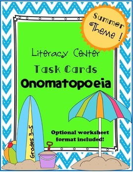 Summer Themed Onomatopoeia Task Cards and Worksheets