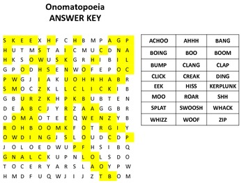 Onomatopoeia Word Search-great for creative writing or English teachers!