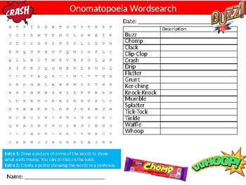 Onomatopoeia Wordsearch Sheet Cartoon Starter Activity Keywords English Terms