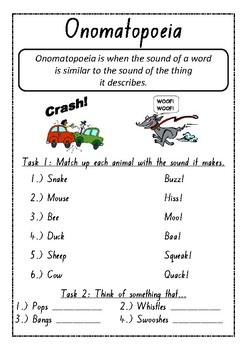 Onomatopoeia Worksheets Teaching Resources | Teachers Pay Teachers