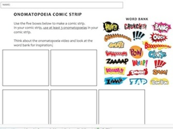 Onomatopoeia comic strip worksheet