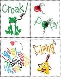 Onomatopoeia visual cards, poem, worksheet