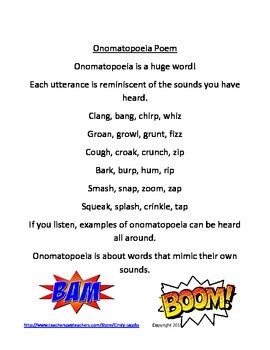 Onomatopoeia,Figurative Language,Poster,Poem,Worksheet