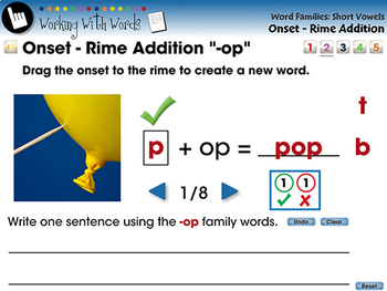 Word Families Short Vowels: Onset - Rime Addition - NOTEBOOK Gr. PK-2
