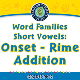 Word Families Short Vowels: Onset - Rime Addition - PC Gr. PK-2