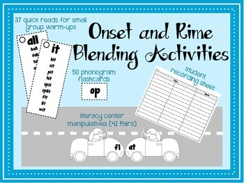 Onset Rime Blending Activities for small groups and centers