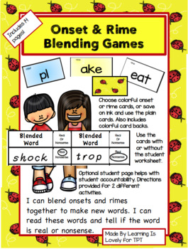 Onset/Rime Blending Games: Hands-on activities with open-ended worksheet