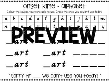 Onset & Rime Part 2! 3 letter rime endings (ALL AUS FONTS)