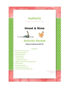 Onset & Rime PoPPaTS  24 pg Activity Skill Pack