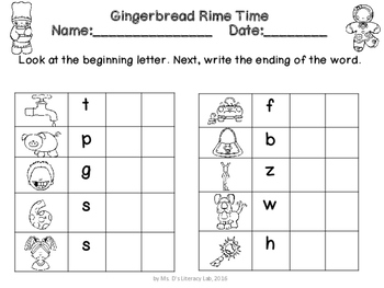 Onset-Rime Puzzles  (Gingerbread)