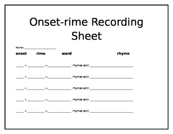Onset-Rime Recording sheet