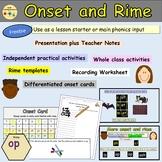 Onset and Rime PowerPoint Presentation, Activities, Teacher Notes