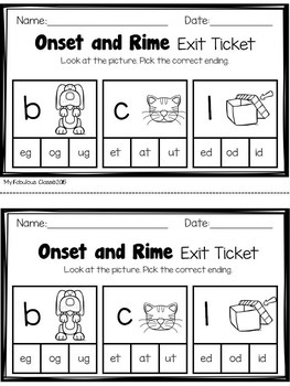 Onset and Rime Exit tickets