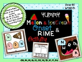 Onset and Rime Melon/ Ice Cream Center | & Clip/ Glue Activity | Over 85 Words!!