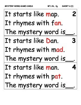 Onset and Rime Mystery Word Games