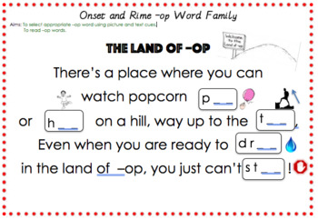 Onset and Rime - Phonics -op