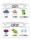 Onset and Rime Word Family Vocabulary Picture Cards Center