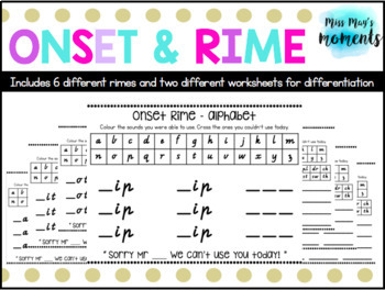 Onset and Rime Worksheets - Includes VIC, QLD & NSW/ACT fonts!