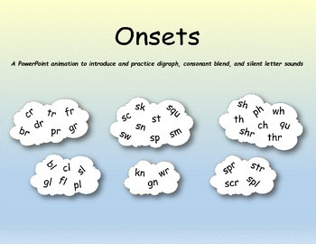 Onsets - A PPT to introduce and practice digraphs, blends, and silent letters