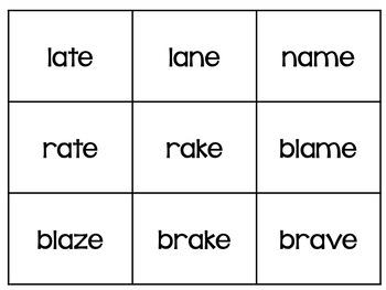 Onsets and Rimes - ame, -ate, ake