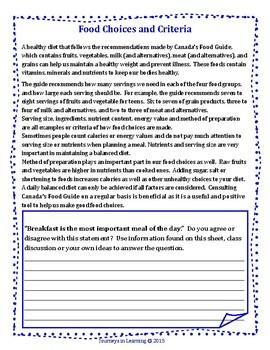 Ontario Healthy Living Grade 8 Curriculum Activities
