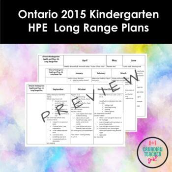 Ontario 2015 Kindergarten Health and Physical Education Long Range Plans
