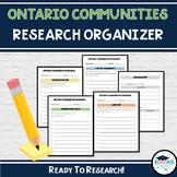 Ontario Communities Research Organizer - Grade 3 Ontario