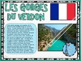 Ontario Core French Culture Reading, Writing Activity Les Gorges Du Verdon