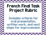 Ontario Core French Rubric for Final Task: Oral and Writte