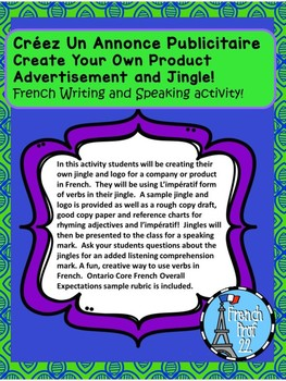 Ontario Core French Writing and Speaking Activity Create An Advertisement