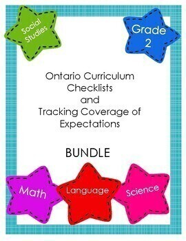 Ontario Curriculum Checklists & Tracking Coverage of Expectations BUNDLE Grade 2
