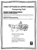 Ontario Curriculum: EARLY SETTLERS IN CANADA COMPARING TASK