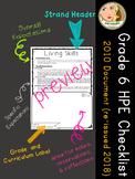 Ontario Curriculum Expectations Checklist - Grade 6 Health, Physical Education
