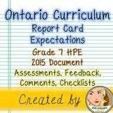 Ontario Curriculum Expectations Checklist - Grade 7 Health, Physical Education
