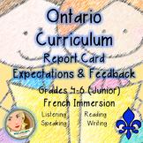 Ontario Curriculum Expectations Checklist - Junior French Immersion (Language)