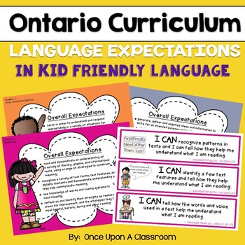 """Ontario Curriculum - Gr 1 - """"I Can"""" Posters & Specific Expectation Strips - LA"""