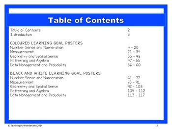 {Grade 1} Mathematics Learning Goal Posters