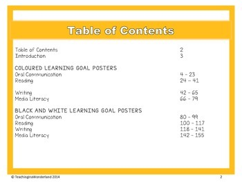 {Grade 2} Language Learning Goal Posters