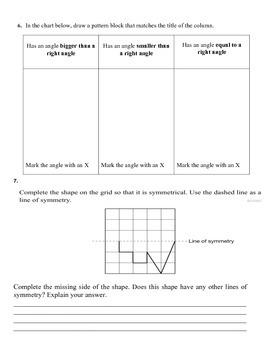 Ontario Curriculum Grade 3 2D Geometry Test
