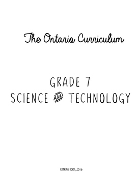 Ontario Curriculum - Grade 7 Science and Technology CHECKLIST