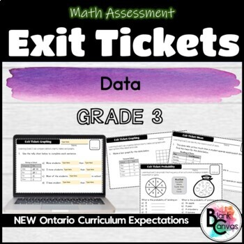 Grade 3 Ontario Data Management and Probability Exit Tickets