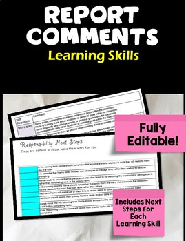 Ontario Editable Learning Skill Comments