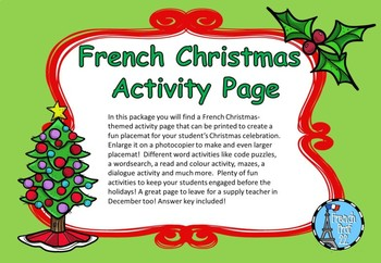 Ontario French Christmas Activity Page
