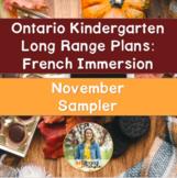Ontario French Immersion Kindergarten Long Range Plans: November Sampler