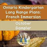 Ontario French Immersion Kindergarten Long Range Plans: October Sampler