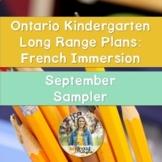Ontario French Immersion Kindergarten Long Range Plans: September Sampler